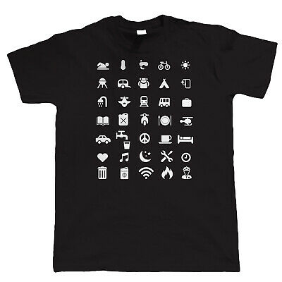 Travel Icon T Shirt - Backpacking Holiday Iconspeak Travelling Gift for Him