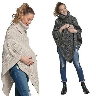 Happy Mama Women's Maternity Nursing Knit Poncho Sweater Jumper Turtle Neck 910p