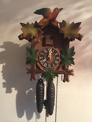 "German  2 Weight Driven Movement Carved Wood Case Cuckoo Clock GWO 8""L6.5""W5""D"