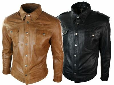 Mens Real Leather Shirt Jacket Tan Brown Black Slim Fit Casual Retro Vintage