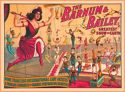 Barnum & Bailey 200 Lady Artists Vintage Circus Travel Advertisement Poster