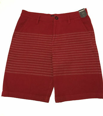 O'Neill Shorts Casual Smart Shorts Deep Red and Blue Stripe 100% Cotton Slim Fit