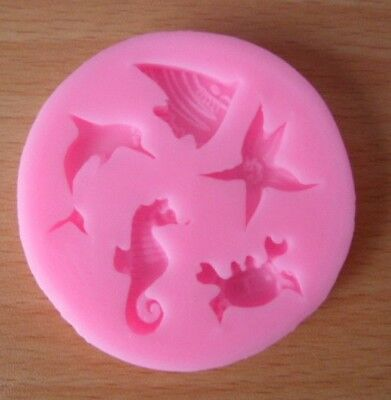 5 X Different Sea Life Shape In One Fondant Mold Cakes Soap Cookie Decoration