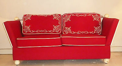 CANAPÉ 2 places convertible CHANTAL THOMASS ROUGE BRODERIES GLAMOUR LIT DE REPOS