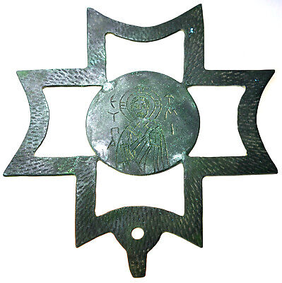 Large Byzantine Double Sided Bronze Processional Cross