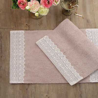 Tappeto bagno Shabby chic Double Dentelle Collection Colore Rosa Polvere 52 x 80