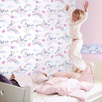 Girls White Purple Rainbow Butterflies Unicorn Wallpaper Fine Decor Fd41922