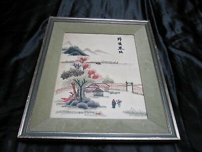 Vintage Hand Embroidered Picture- Stunning Oriental Design In Frame ~ 4181