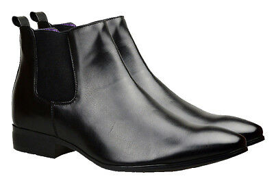 Mens Chelsea Boots Black Leather Smart Formal Ankle Dress Wedding Shoes UK Size
