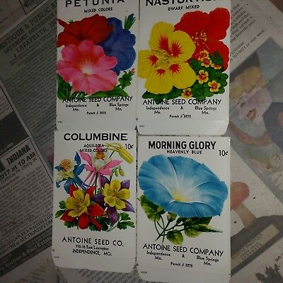 6 Vintage ca. 1950 unused flower seed packets from Blue Springs/Independence MO