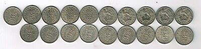 All 19 different CuNi English one shilling coins issued 1947 - 1966