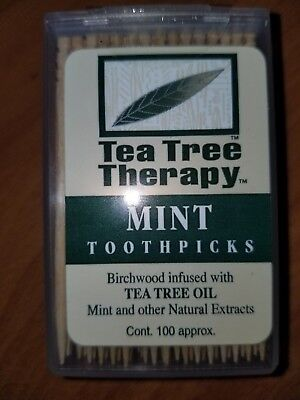 Lot of 3 = 100 count ea = Natural Tea Tree Therapy Mint Toothpicks  = 300 total