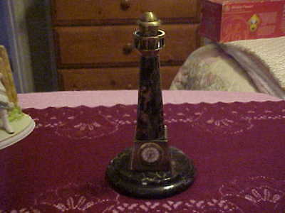 """Vintage Marble And Brass 7 3/4"""" High Lighthouse With Clock"""