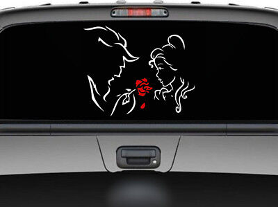 "Beauty and the Beast and the Red Rose car truck SUV decal sticker 11"" Red/White"