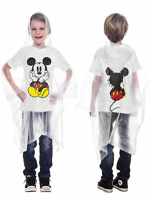 Disney Mickey Mouse Waterproof Rain Poncho - Youth Kids Unisex