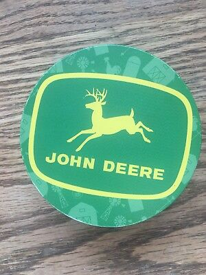 John Deere Coasters-metal cork backed-set of 6 with holder-Licensed Product