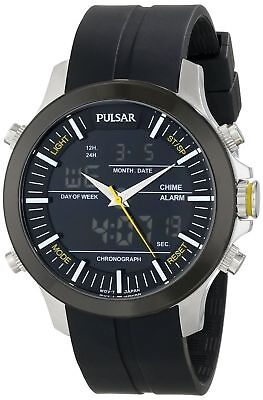 Pulsar PW6001 Men's Analog & Digital Chronograph Stainless Steel Rubber Watch