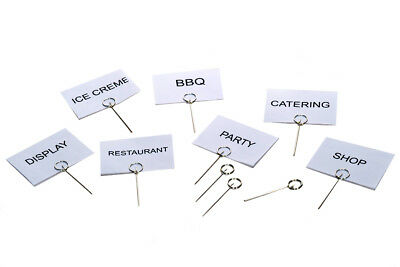 PROVISION PINS & CARDS 50X STEEL-FOOD-LABEL-PRICE-DISPLAY-DELI-CATERING-8cm