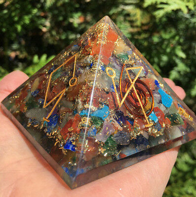 Archangel Orgone Pyramid ,Crystal Gemstones,Copper Metal Mix Rare 90 mm,Chakra