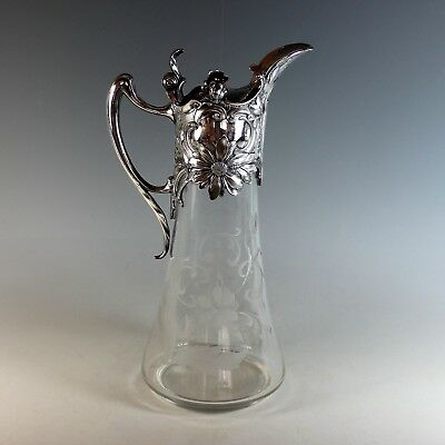 WMF Art Nouveau Silverplate and Etched Glass Claret Jug Carafe Silver Plate
