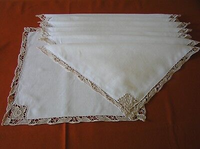 Set of 8 Vintage Dinner Napkins Venice Lace Corner & Edge Matching Set