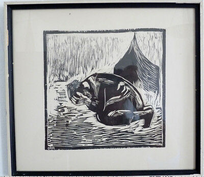 trauer. Woodcut, Middle 20th Century