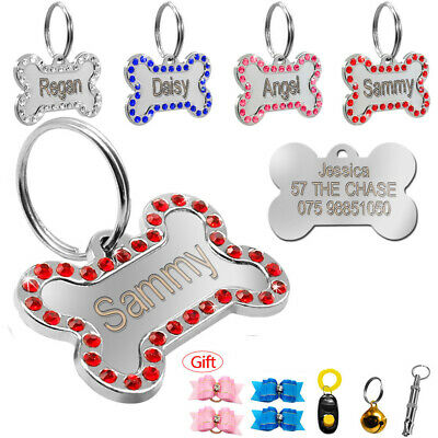 Personalized Bling Bone Dog Tag Name Phone Free Engraved Clicker Whistle Bowknot