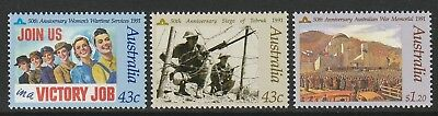Australia 1991 : In Memory of those Who Served. Set of 3 Decimal Stamps,MNH