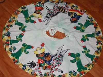 vtg Mexican novelty sequin CIRCLE skirt cactus donkey Child's handpainted