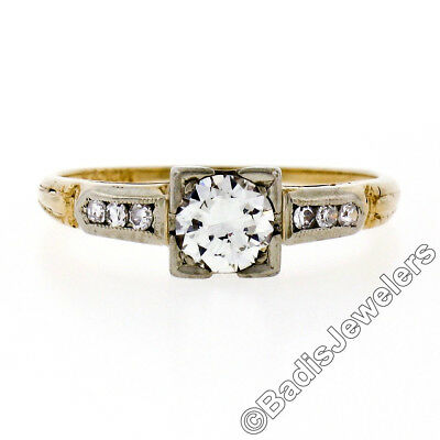 Antique Art Deco 14K TT Gold 0.60ctw Round Diamond Solitaire Engagement Ring