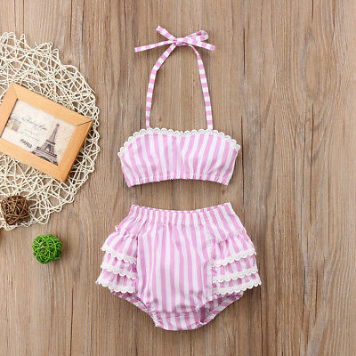 Princess Baby Girl Striped Lace Tops+Shorts Briefs 2pcs Outfits Set Sunsuit US