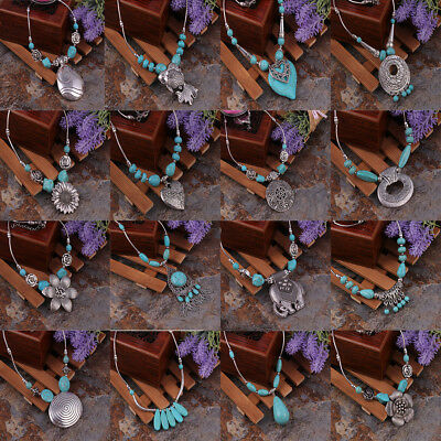 Women Boho style Vintage Tibetan Silver Turquoise Beads String Pendant Necklace