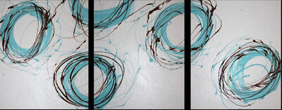 NEW 3 Piece Abstract Canvas Painting in Turquoise and Brown