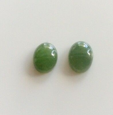 2 PC OVAL CUT SHAPE NATURAL JADE 9x7MM CABOCHON LOOSE GEMSTONES