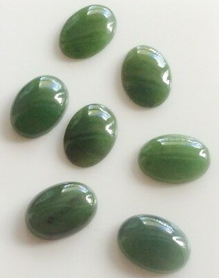 2 PC OVAL CUT SHAPE NATURAL JADE 14x10MM CABOCHON LOOSE GEMSTONES