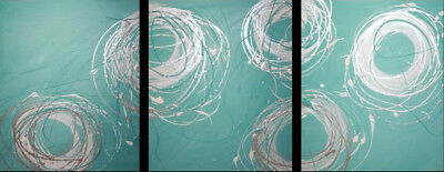 NEW 3 Piece Abstract Canvas Painting in Turquoise