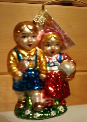 """Old World Christmas Hansel And Gretel Glass Ornament 4"""" New"""