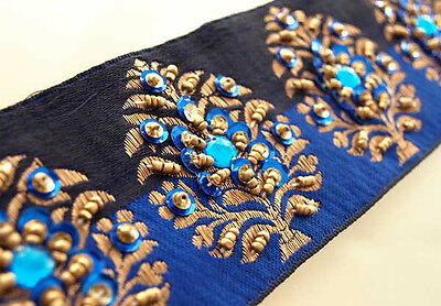 Blue Hand Beaded Flowers on Black & Gold Ribbon. Beaded Sewing Trim 3 yards