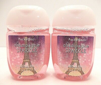2 Bath & Body Works Champagne Sparkle Pocketbac Anti Bacterial Hand Gel (Rare)