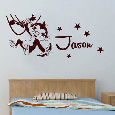 NEW Personalised Hanging Monkey Removable Wall Sticker