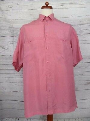 Vtg S-Sleeve Oversize Precious Pink Pure Silk Shirt 80s 90s New Wave -M- CW20