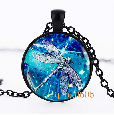 Dragonfly Necklace photo Glass Dome black Chain Pendant Necklace wholesale