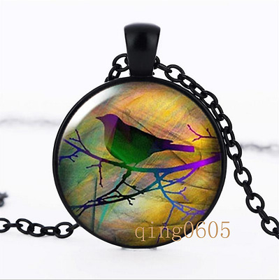 Sparrow on branch photo Glass Dome black Chain Pendant Necklace wholesale