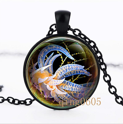 Yellow Jellyfish Art photo Glass Dome black Chain Pendant Necklace wholesale
