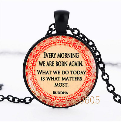 Buddha Quote necklace photo Glass Dome black Chain Pendant Necklace wholesale