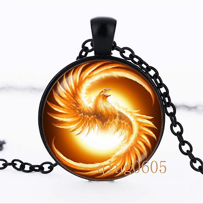 Phoenix bird photo Glass Dome black Chain Pendant Necklace wholesale