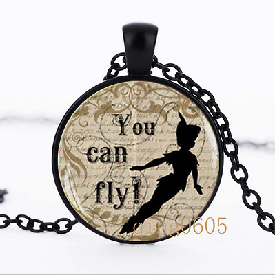 Peter pan Yu can fly photo Glass Dome black Chain Pendant Necklace wholesale