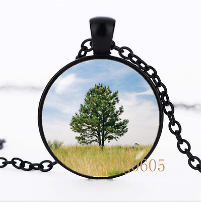 Tree Mother gift Family photo Glass Dome black Chain Pendant Necklace wholesale
