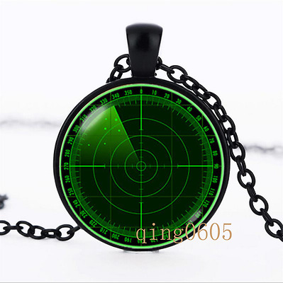 Radar necklace Technology Glass Dome black Chain Pendant Necklace wholesale