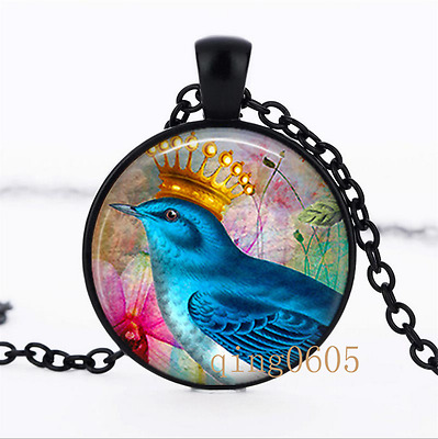 Blue Bird and Crown photo Glass Dome black Chain Pendant Necklace wholesale